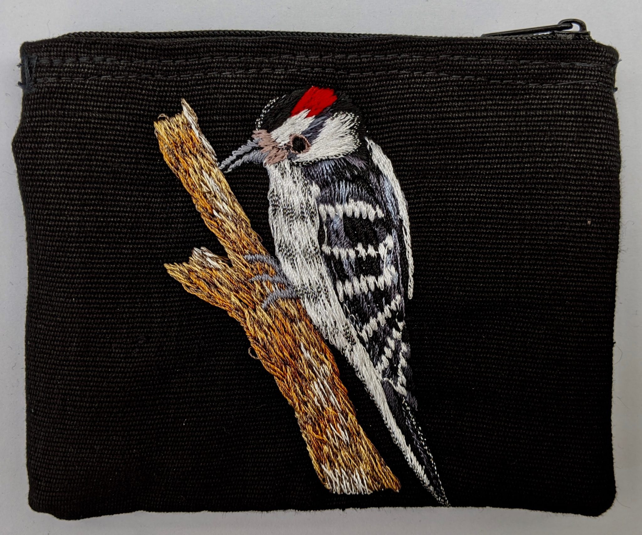 Downy Woodpecker Thread Painted Cotton Coin Purse