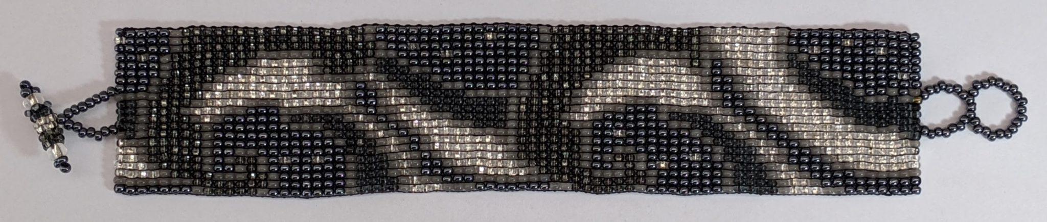 Art Nouveau Beaded Bracelet - Medium Grays
