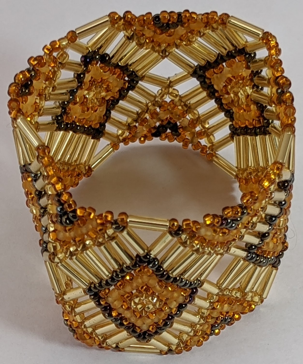Beaded Elastic Geometric Cuff - Golds