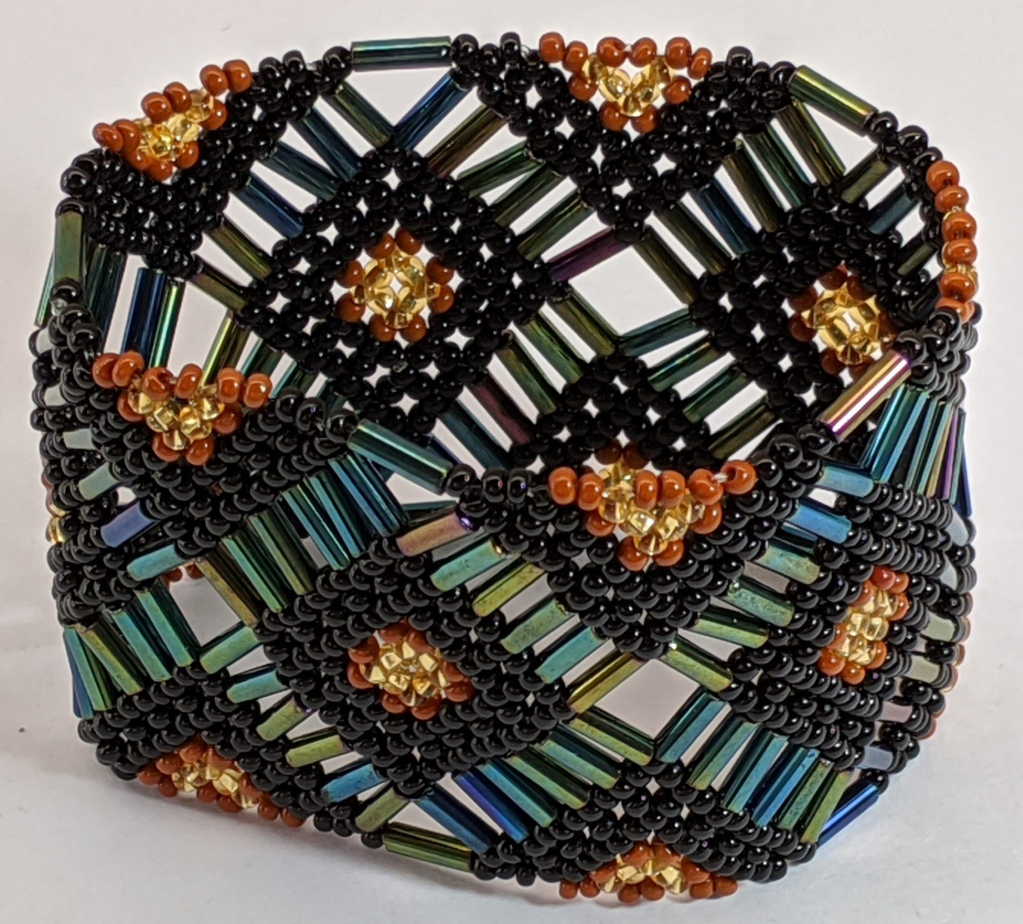 Beaded Elastic Geometric Cuff - Sophisticated Autumn - Dark