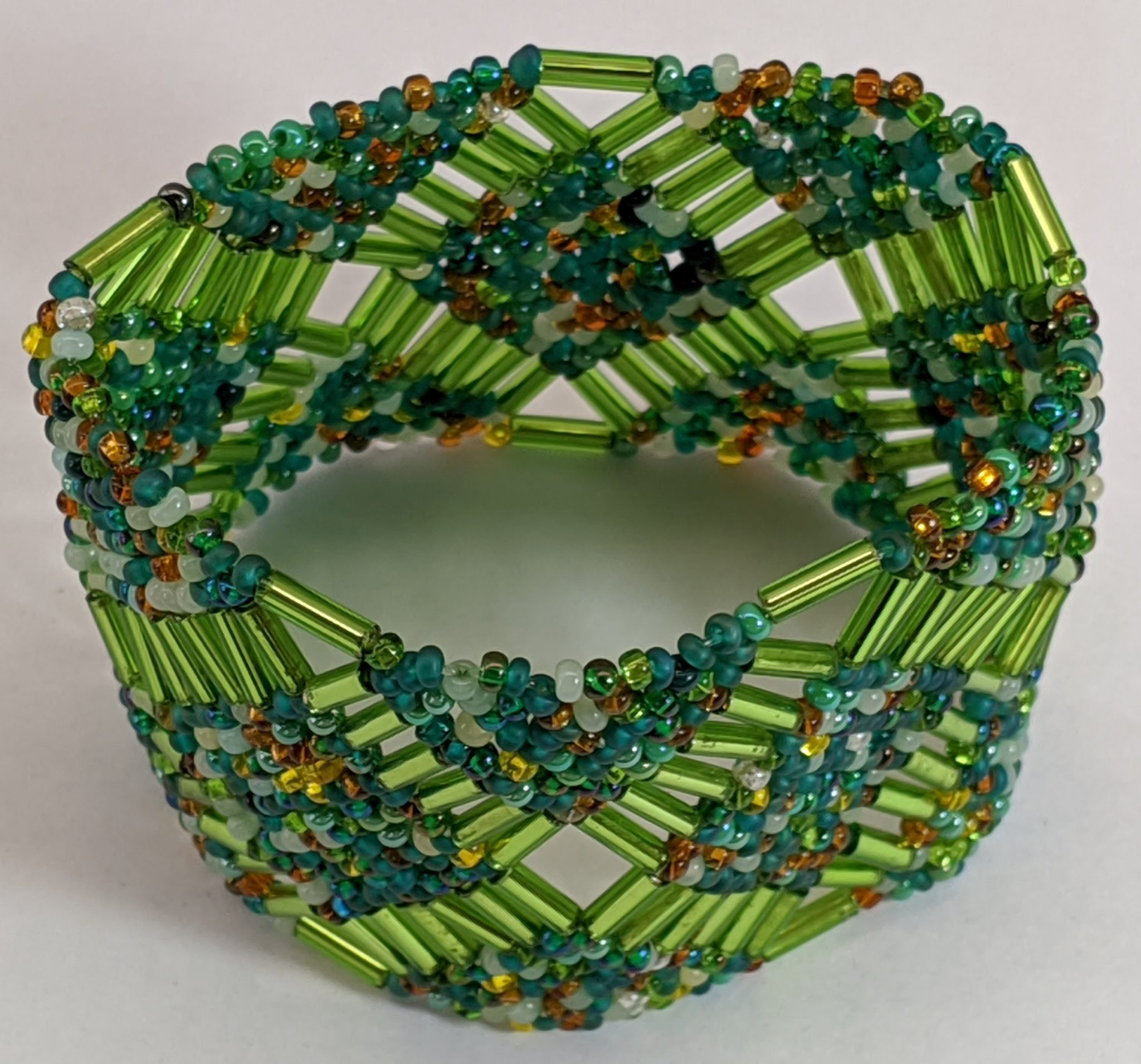 Beaded Elastic Geometric Cuff - Forest Greens
