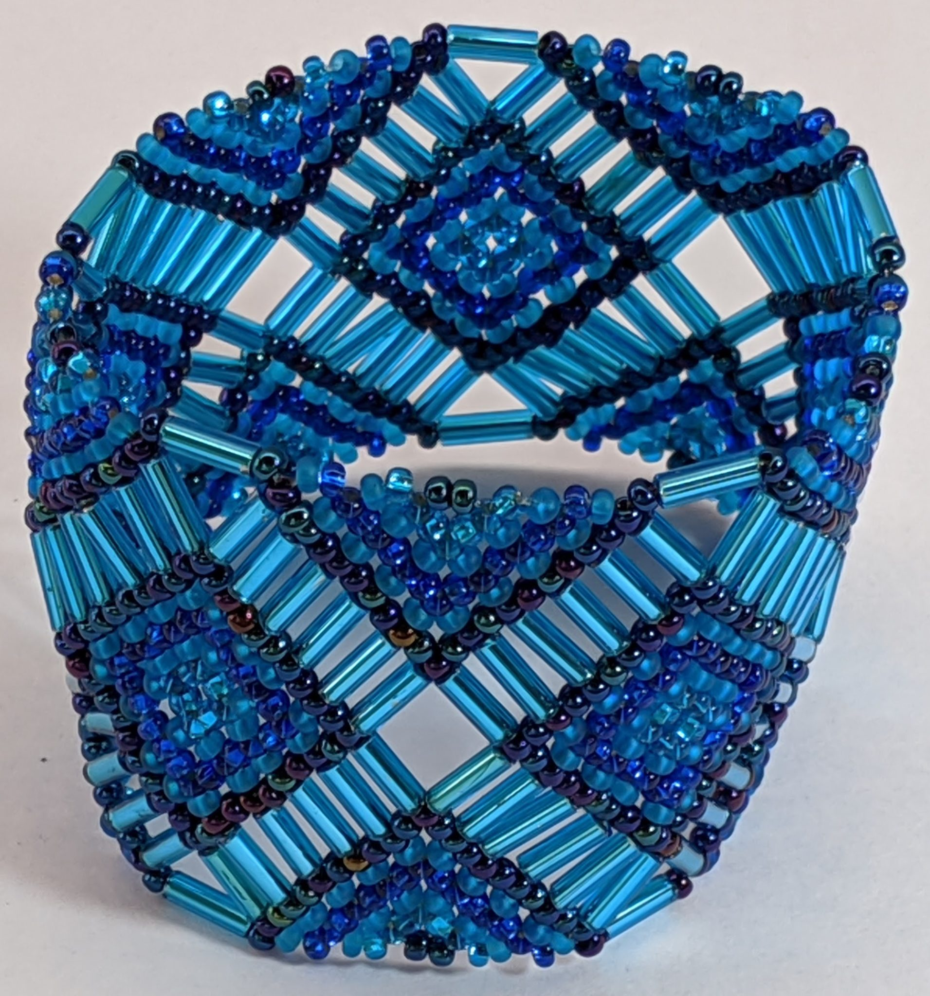 Beaded Elastic Geometric Cuff - Blues