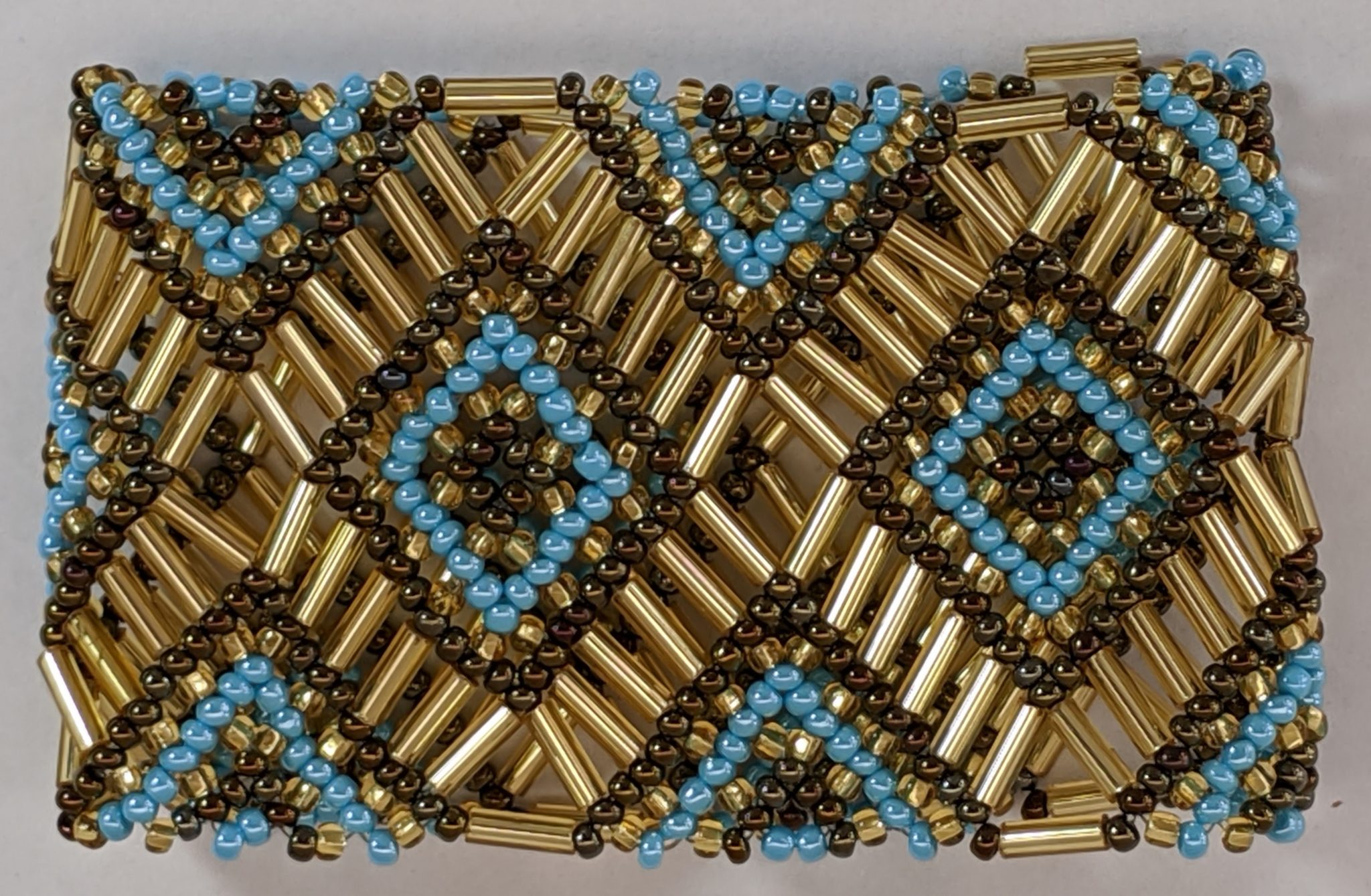 Beaded Elastic Geometric Cuff - Turquoise and Copper