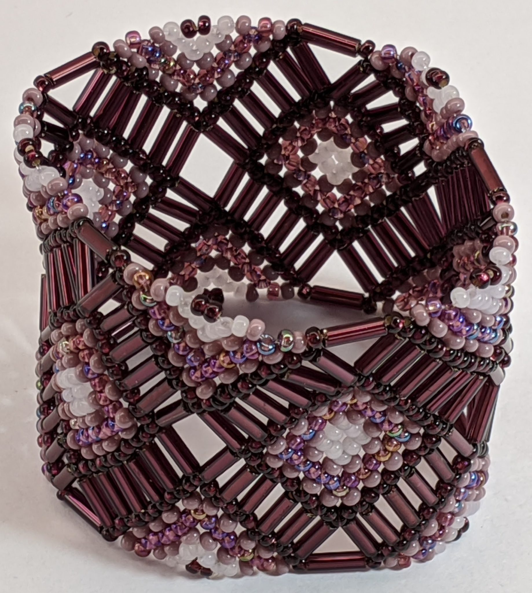 Beaded Elastic Geometric Cuff - Purples