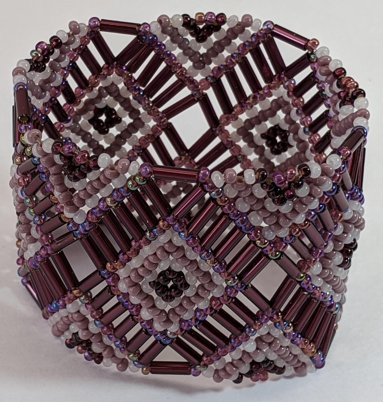 Beaded Elastic Geometric Cuff - Purples