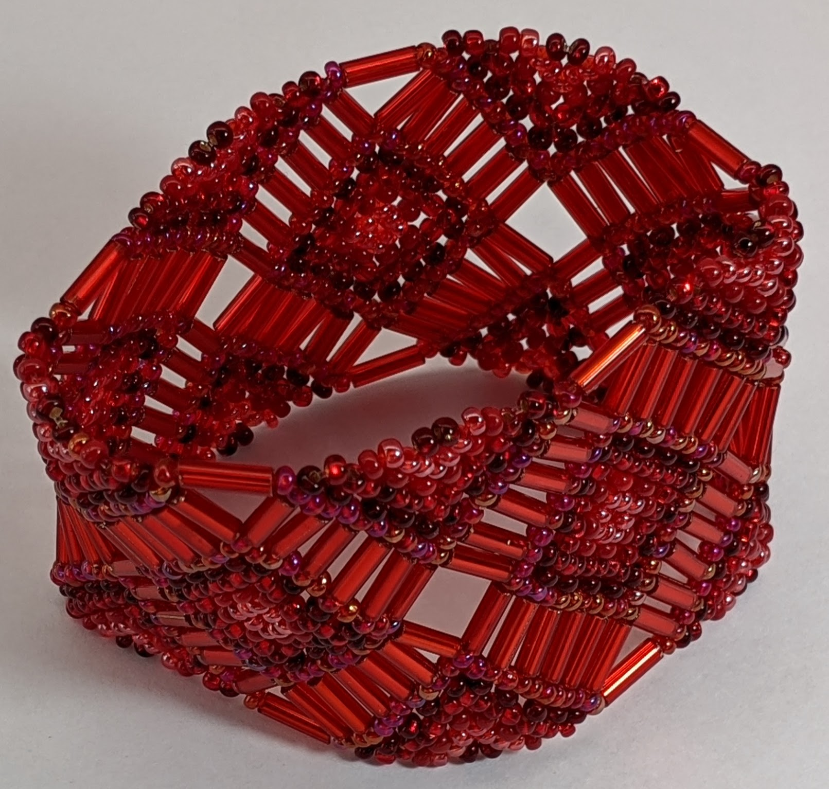 Beaded Elastic Geometric Cuff - Reds