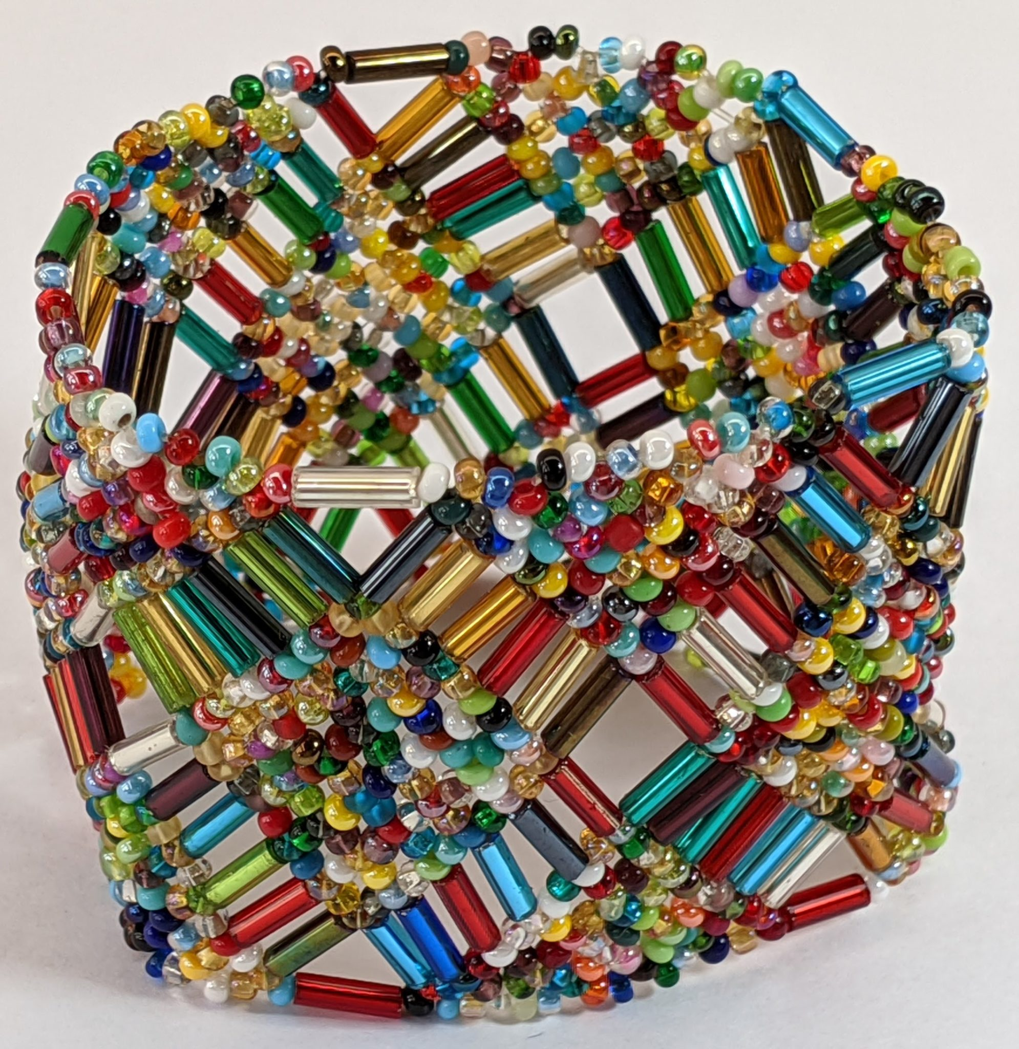Beaded Elastic Geometric Cuff - Multi