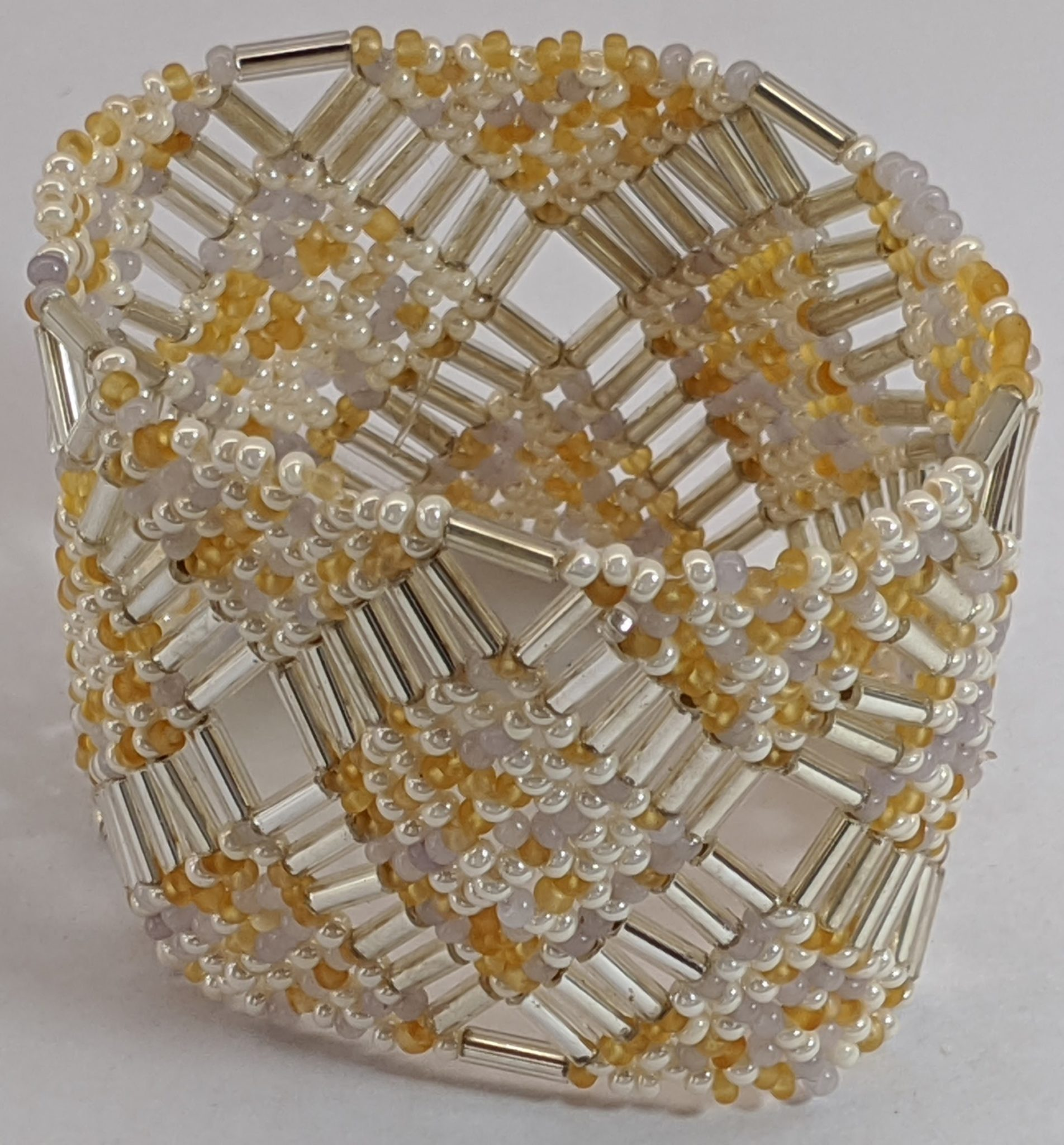Beaded Elastic Geometric Cuff - Gold and Whites