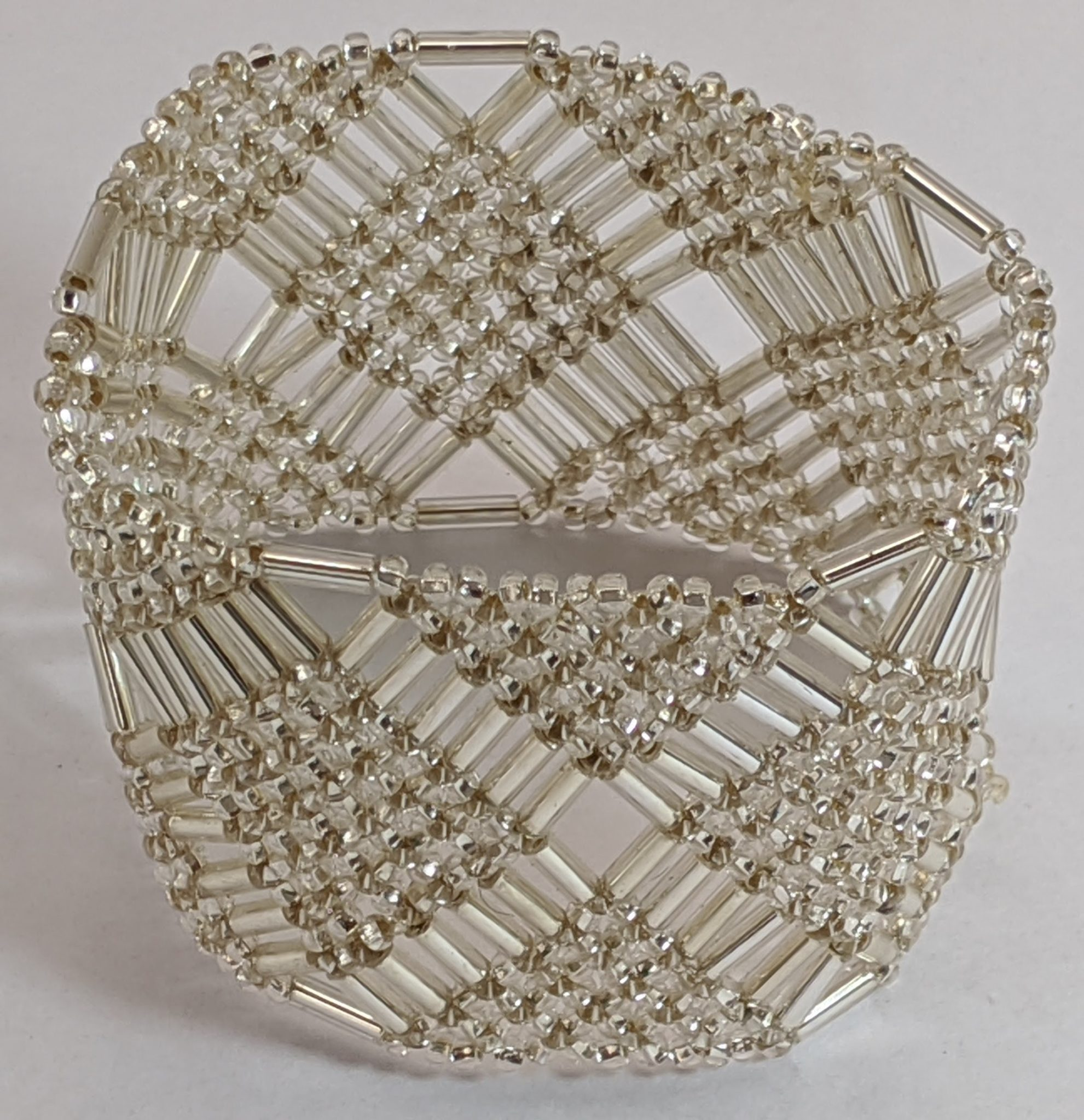 Beaded Elastic Geometric Cuff - Silver White