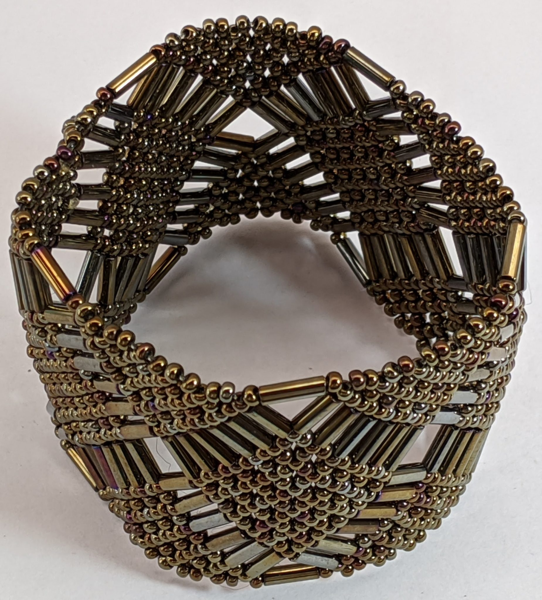 Beaded Elastic Geometric Cuff - Iridescent Brown