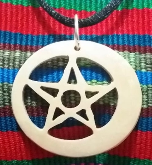 Pentagram Eclipse – Star and Moon - Pentangle  Coco Spirit Hand-Carved Coconut Shell Necklace