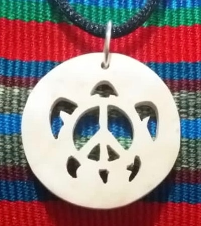 Turtle with Peace Sign Coco Spirit Hand-Carved Coconut Shell Necklace