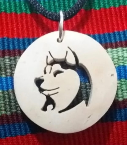 Wolf Coco Spirit Hand-Carved Coconut Shell Necklace