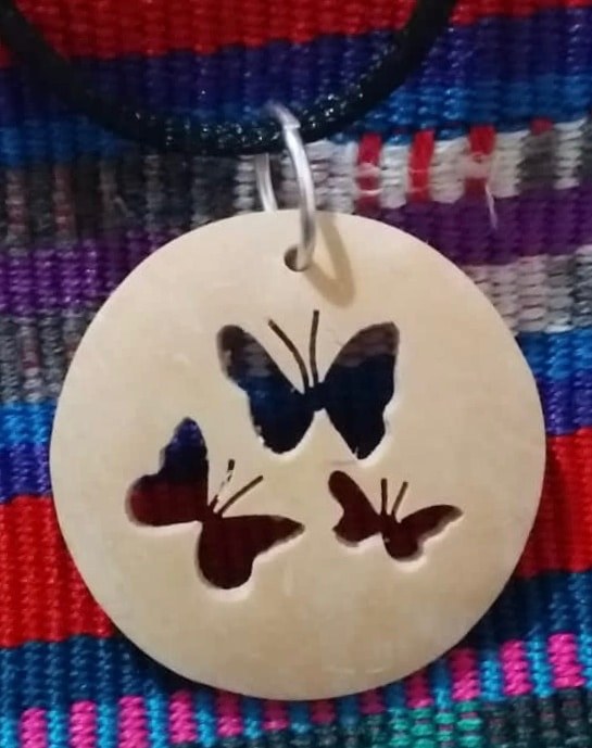 Butterflies Coco Spirit Hand-Carved Coconut Shell Necklace