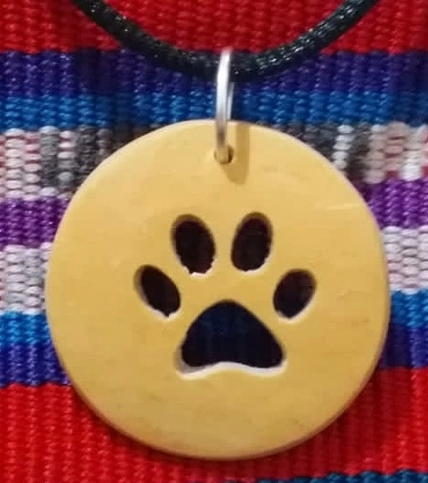 Dog Paw Print Coco Spirit Hand-Carved Coconut Shell Necklace