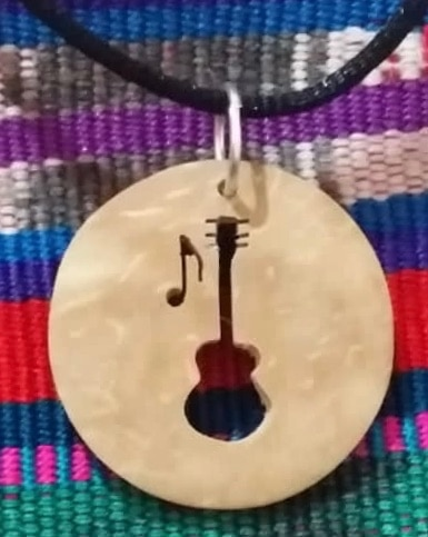 Guitar Coco Spirit Hand-Carved Coconut Shell Necklace
