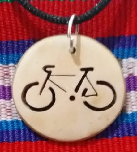 Bicycle Coco Spirit Hand-Carved Coconut Shell Necklace