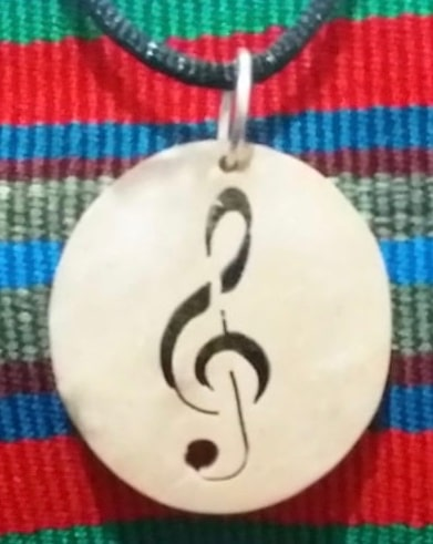 Music – G Clef Coco Spirit Hand-Carved Coconut Shell Necklace