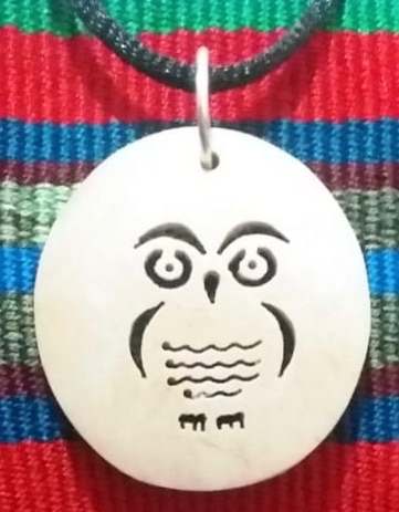 Owl Coco Spirit Hand-Carved Coconut Shell Necklace
