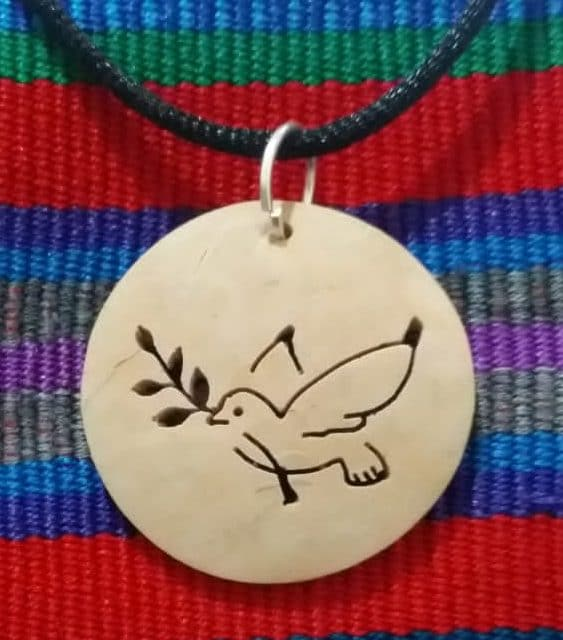 Peace Dove with Branch Coco Spirit Hand-Carved Coconut Shell Necklace