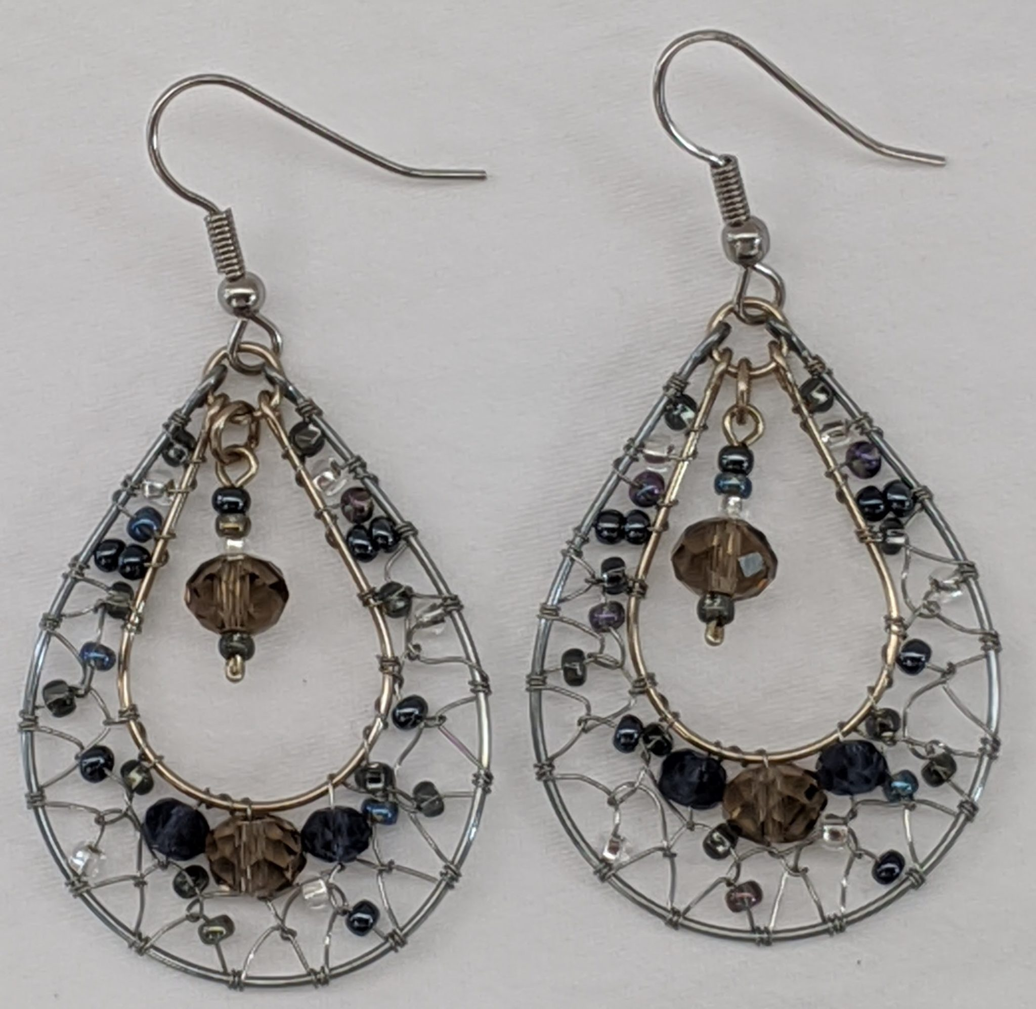 Teardrop Dreamcatcher Earrings - Grays