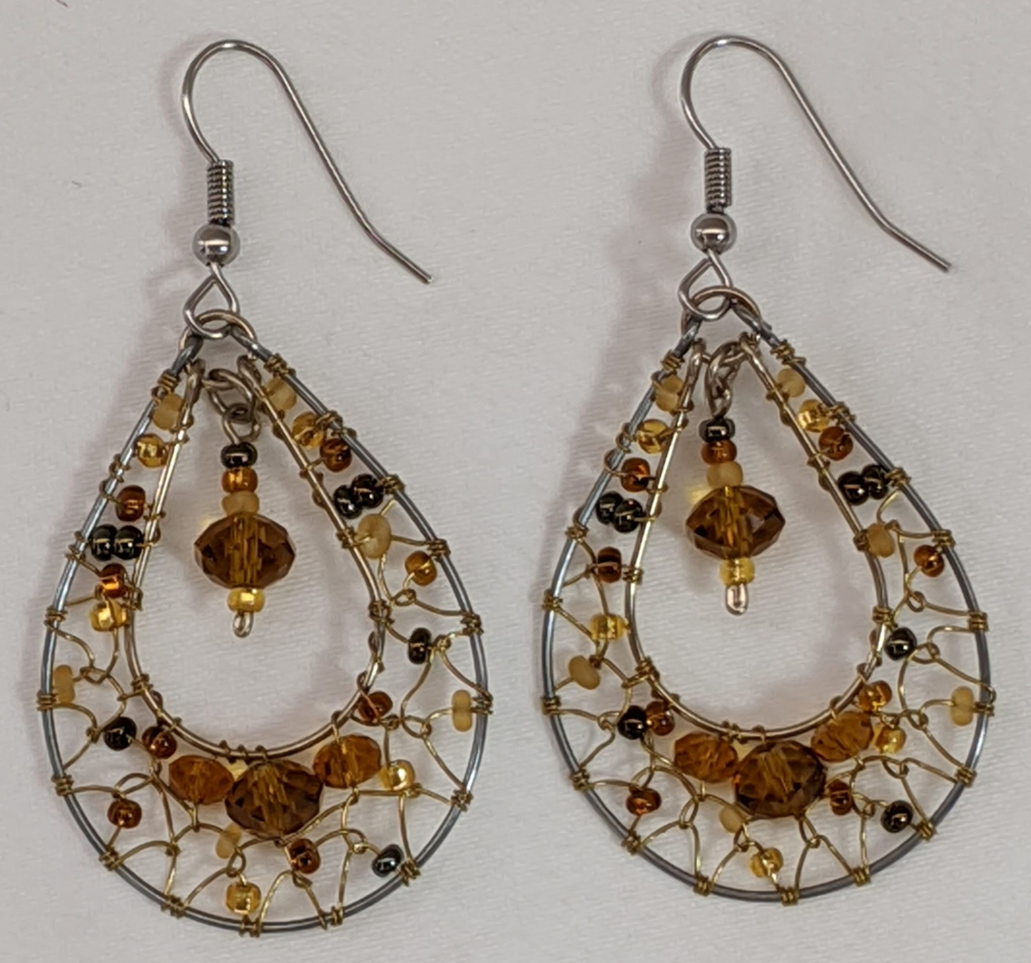 Teardrop Dreamcatcher Earrings - Golds