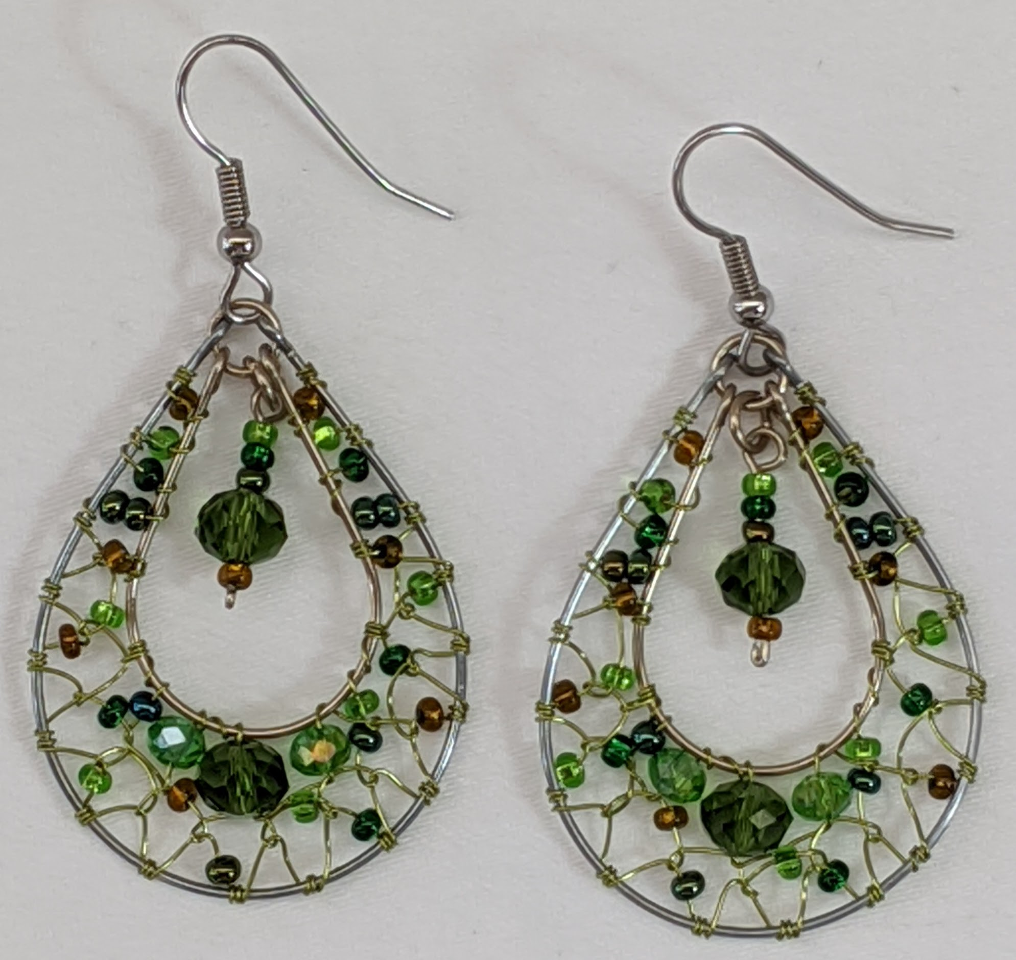 Teardrop Dreamcatcher Earrings - Greens