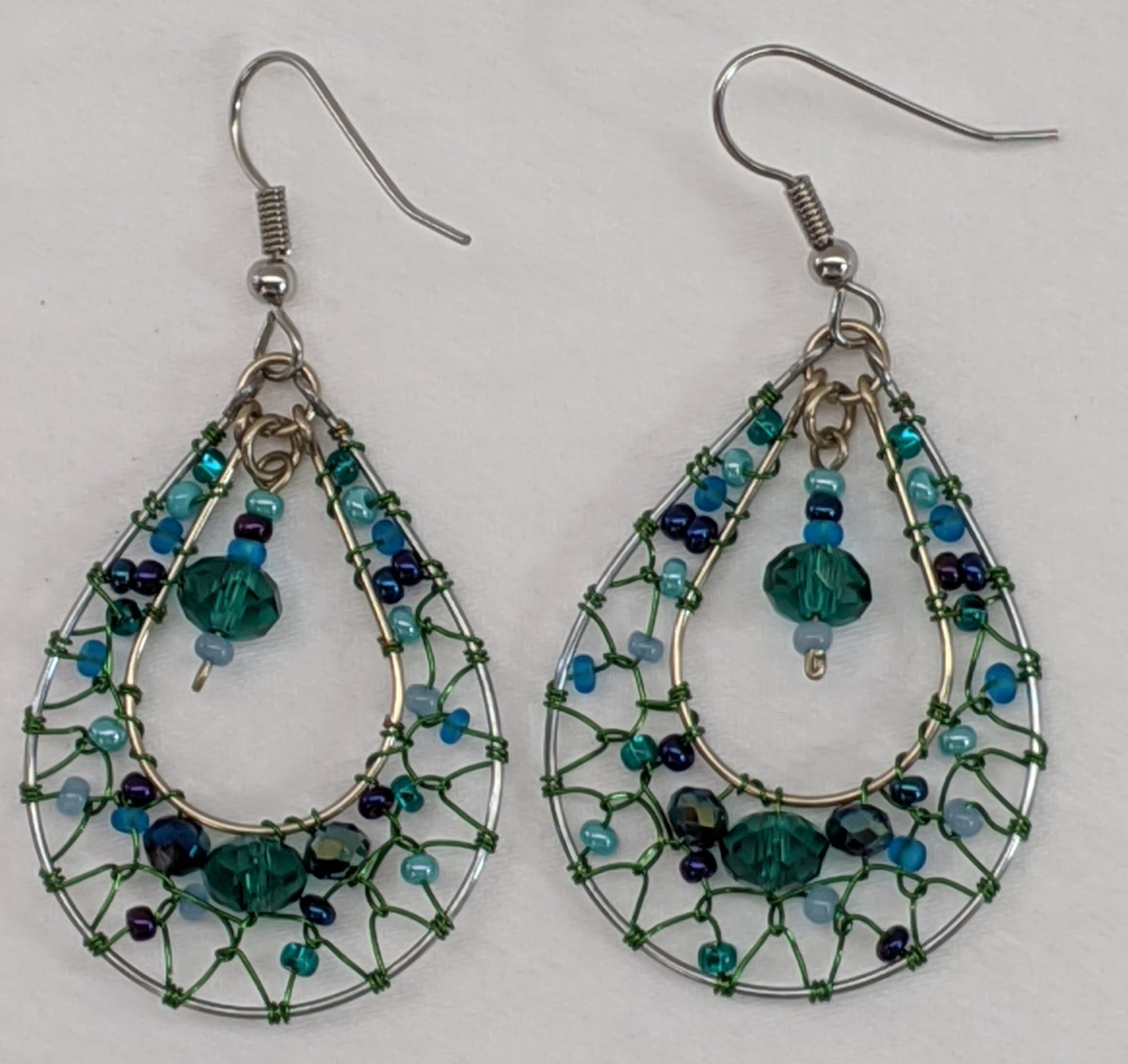 Teardrop Dreamcatcher Earrings - Teal and Blue