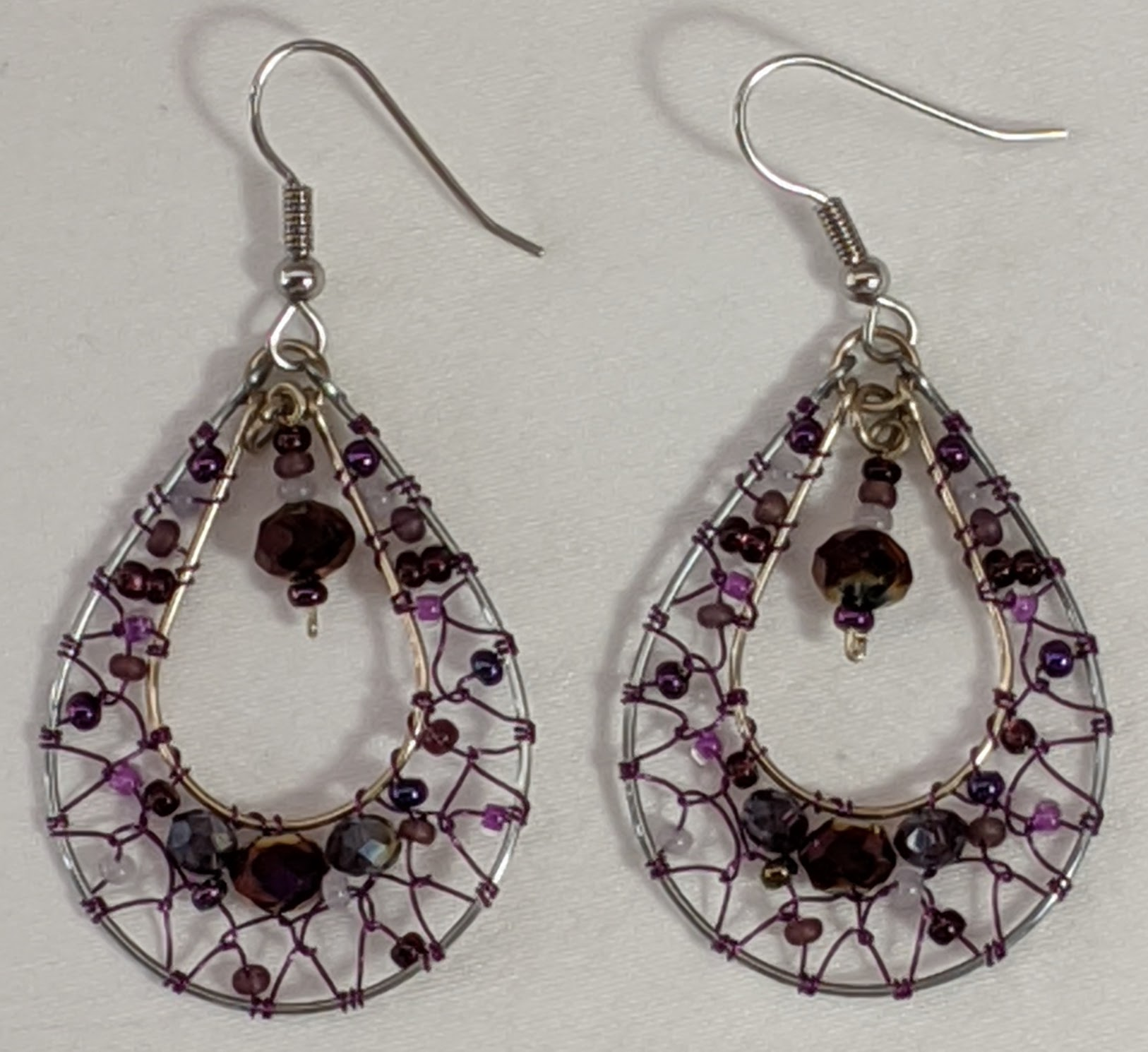 Teardrop Dreamcatcher Earrings - Purples