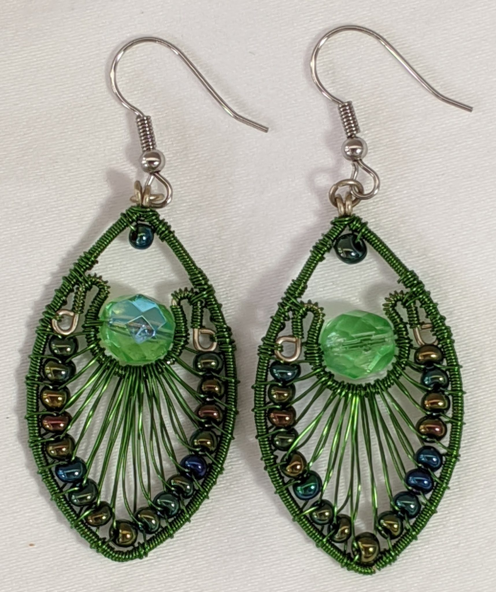 Peacock Earrings - Green