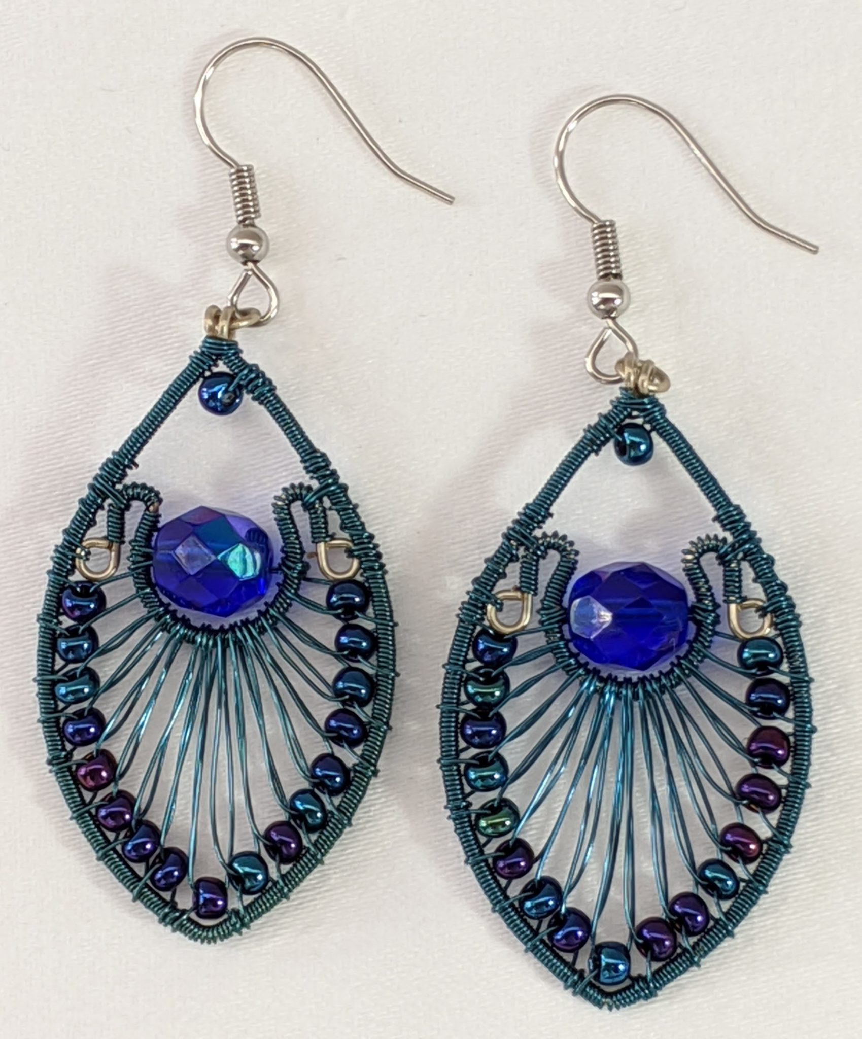 Peacock Earrings - Blue