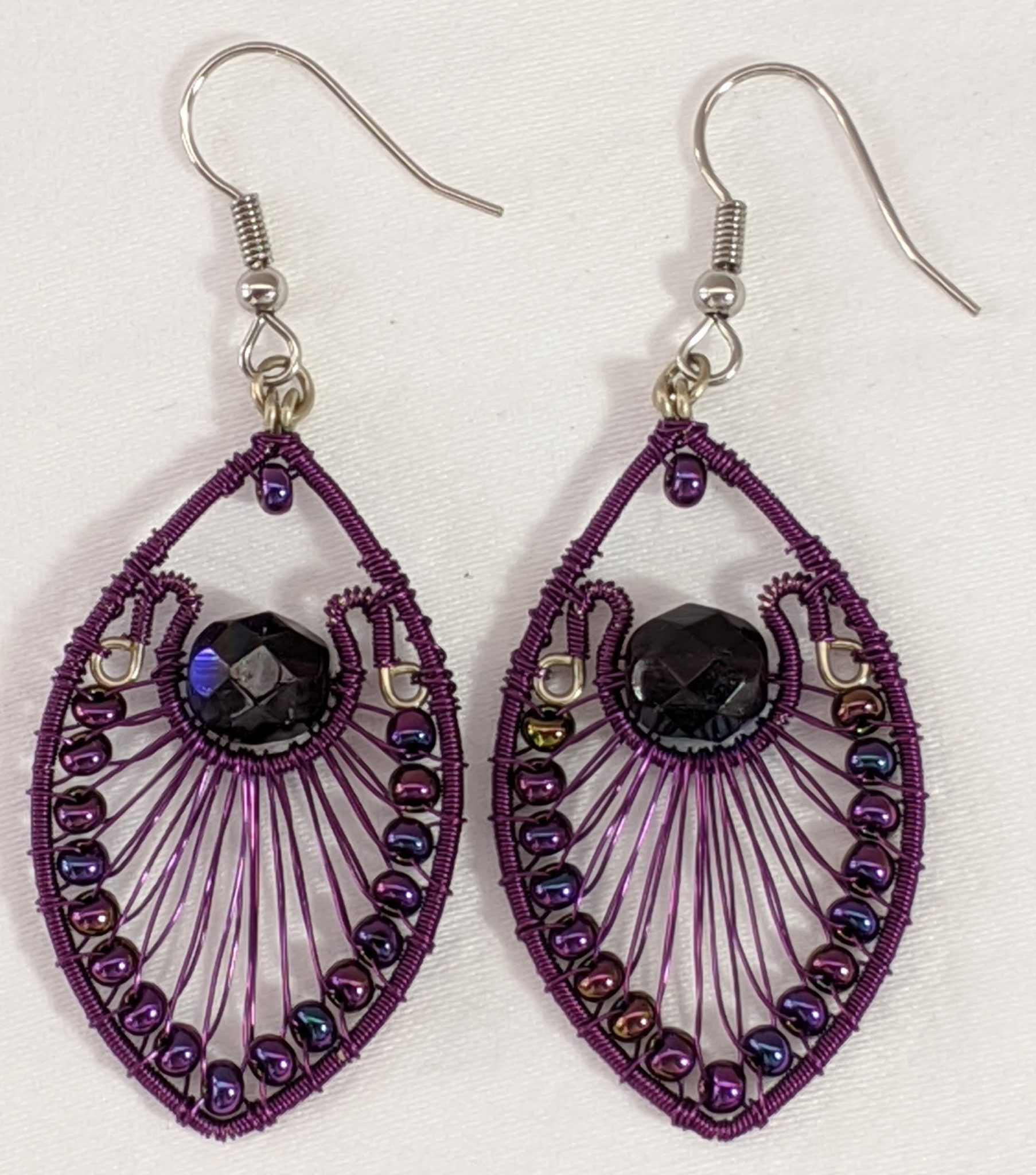 Peacock Earrings - Purple