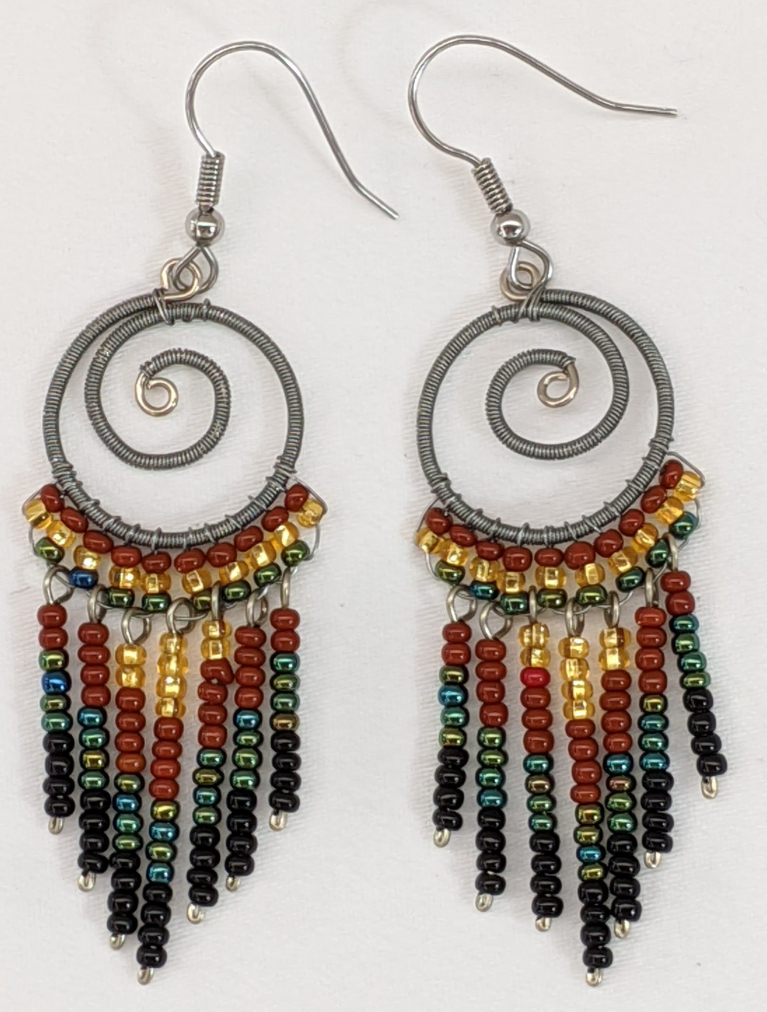 Spiral Fringe Earrings - Sophisticated Autumn