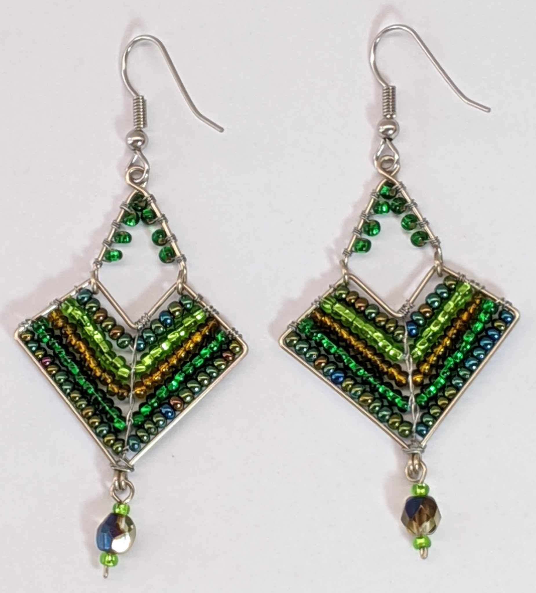 Chevron Earrings - Greens