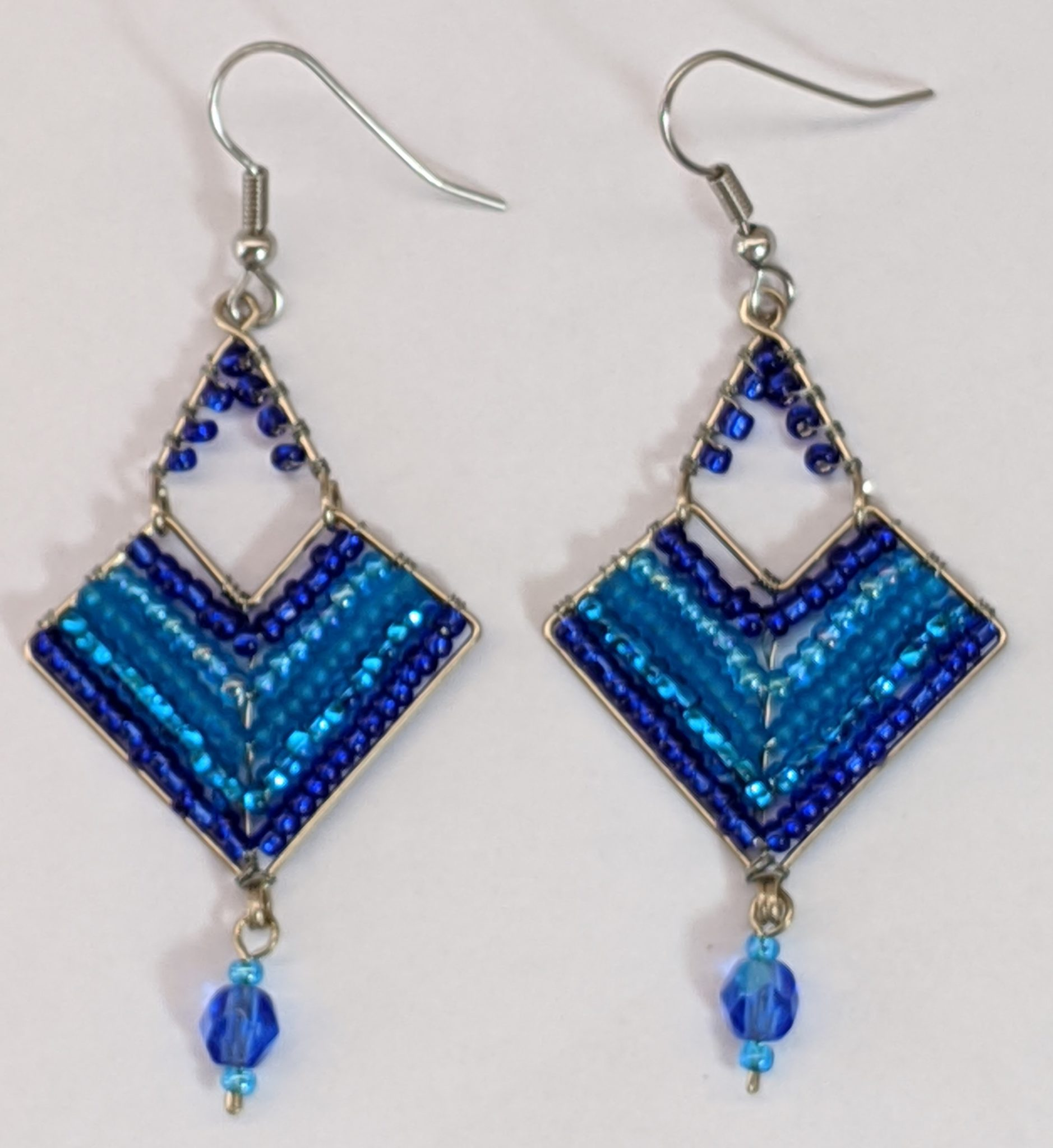 Chevron Earrings - Blues