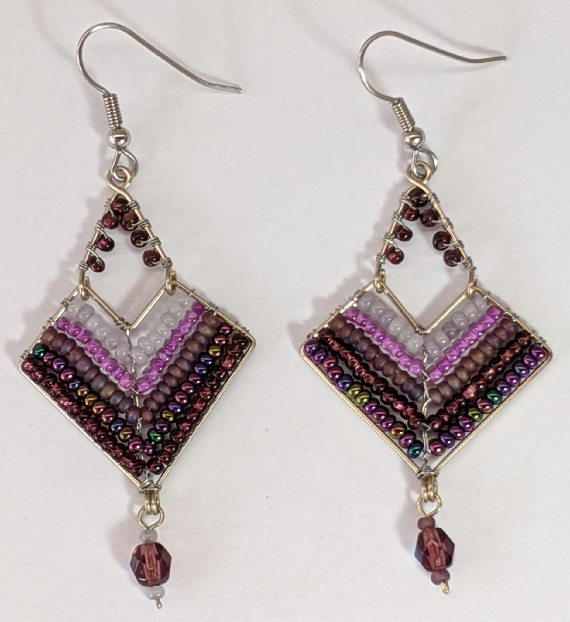 Chevron Earrings - Purples