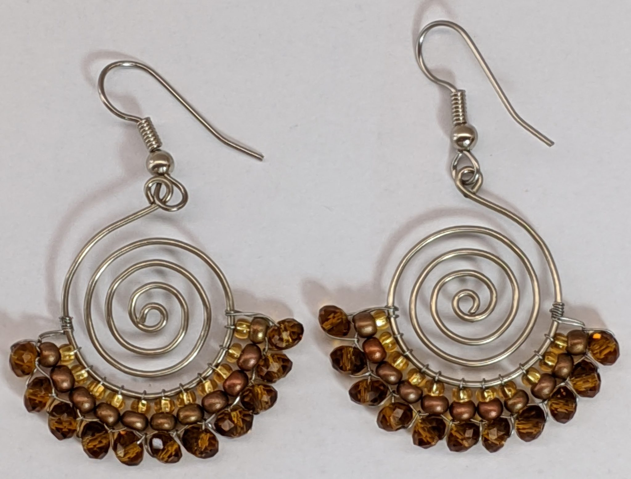 Spiral Skirt Beaded Earrings - Golds