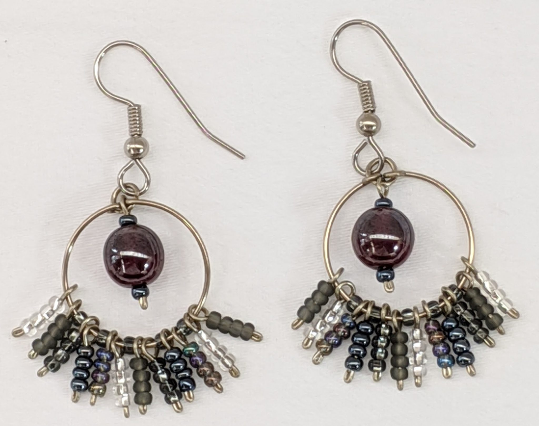 Circle Fringe Beaded Earrings - Medium Grays