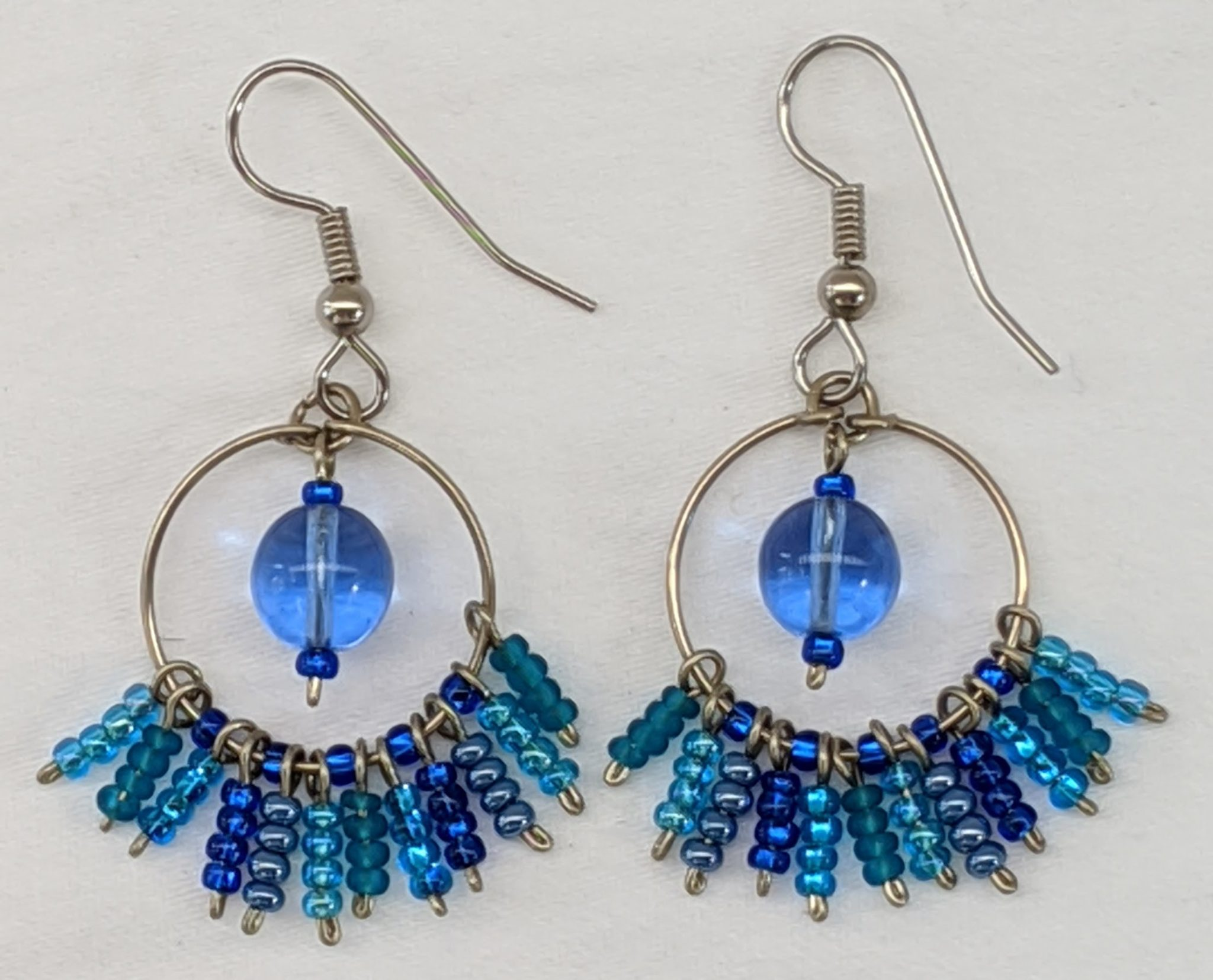 Circle Fringe Beaded Earrings - Blues