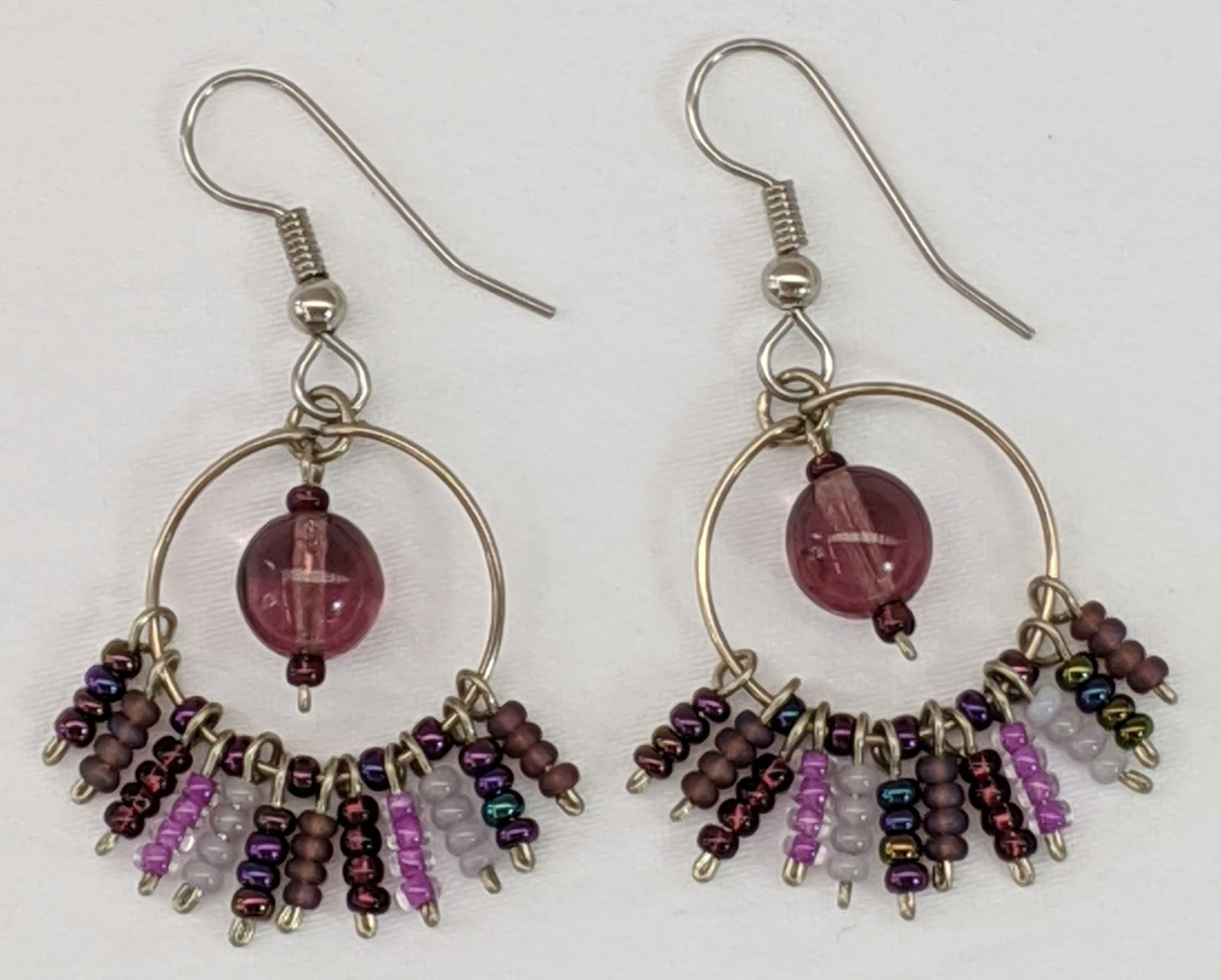 Circle Fringe Beaded Earrings - Purples