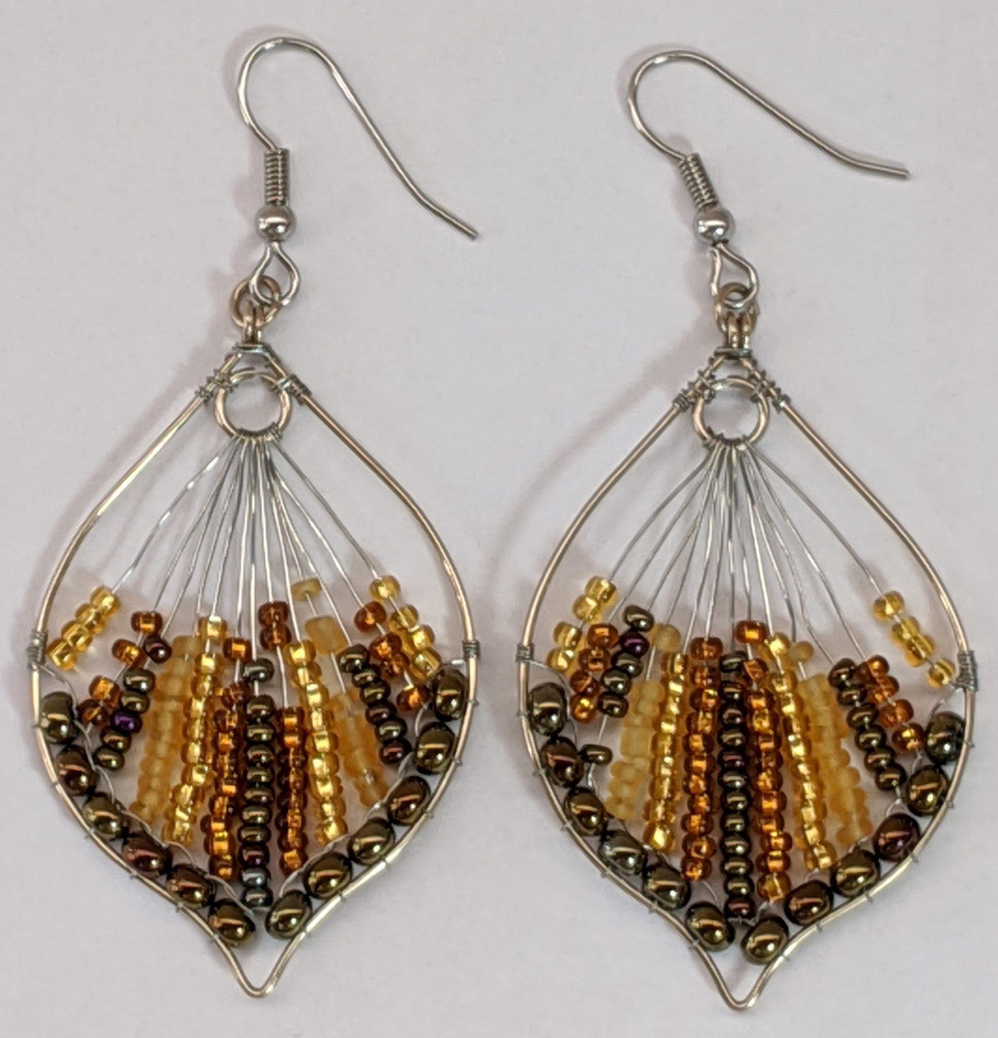 Peacock Tail Beaded Earrings - Golds