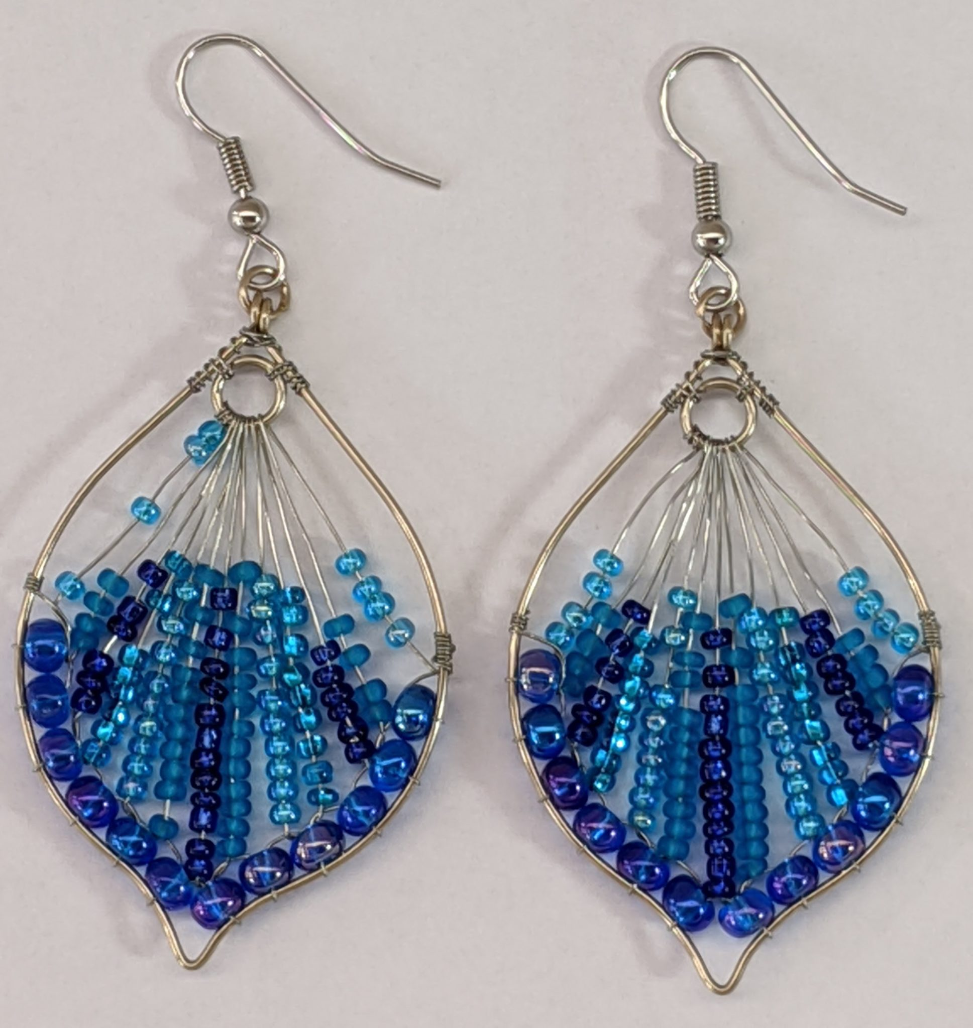 Peacock Tail Beaded Earrings - Blues