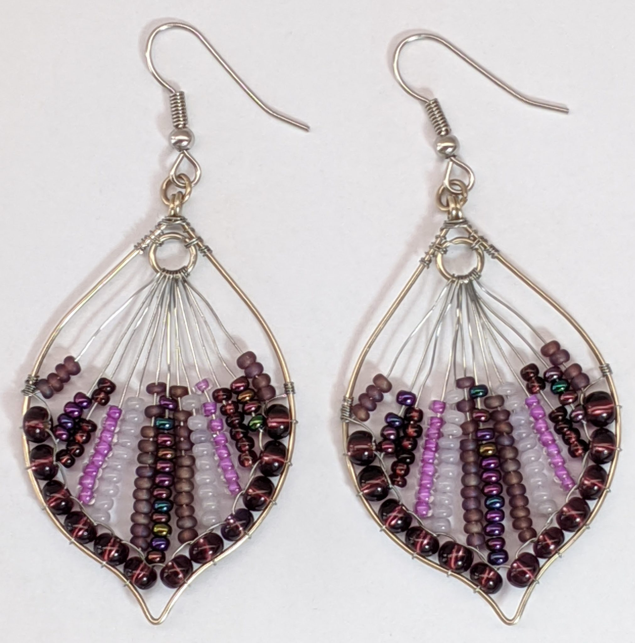 Peacock Tail Beaded Earrings - Purples