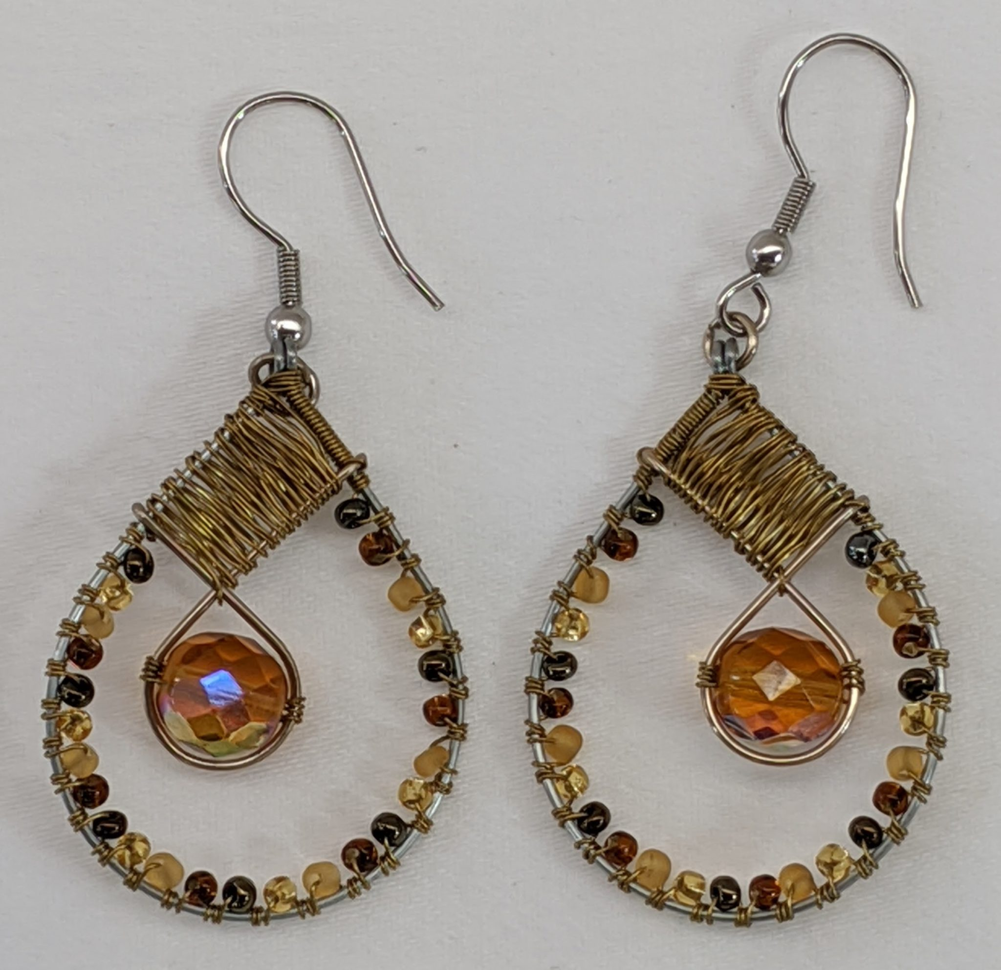 Teardrop with Crystal Beaded Earrings - Golds