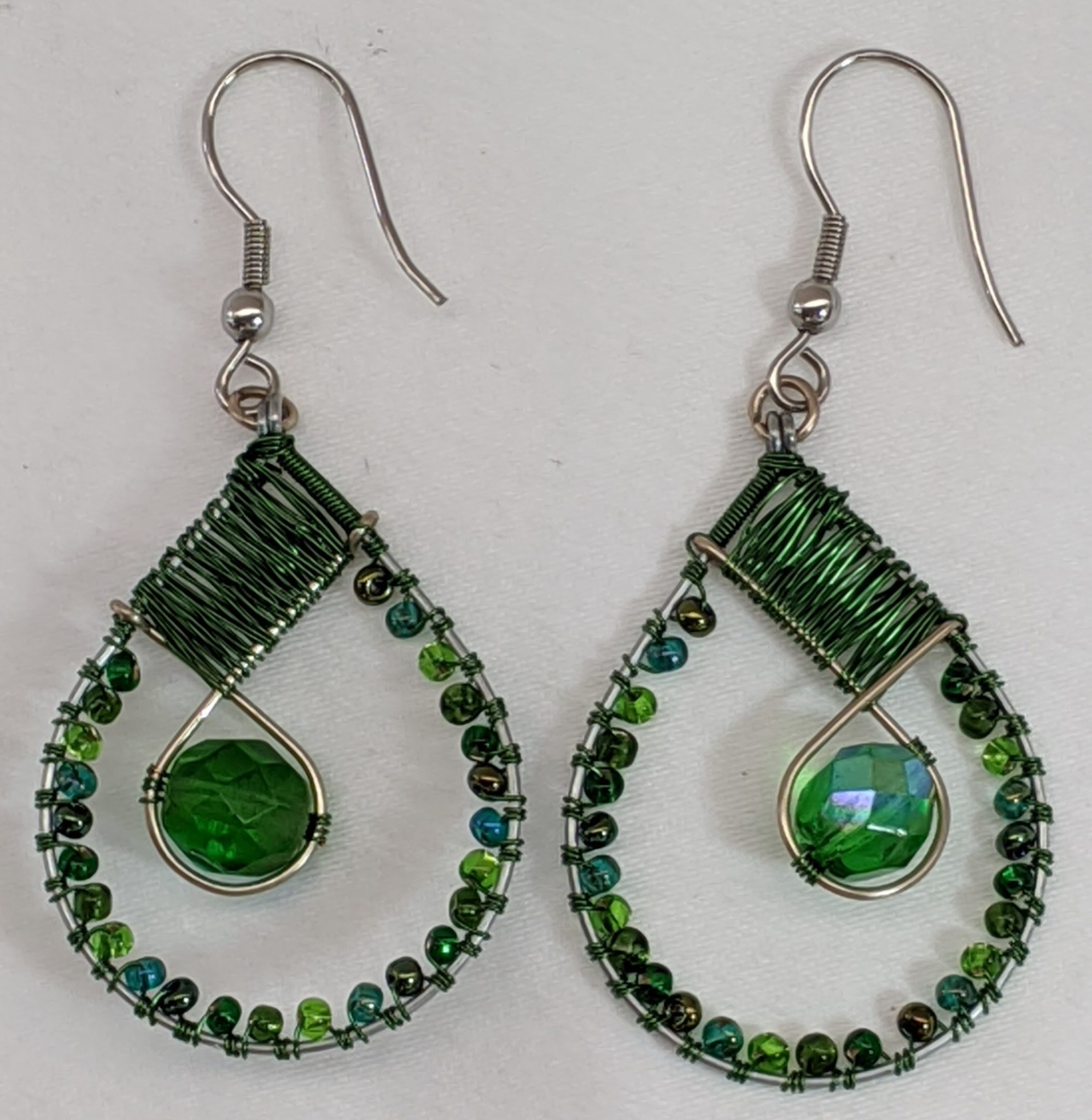 Teardrop with Crystal Beaded Earrings - Forest Greens