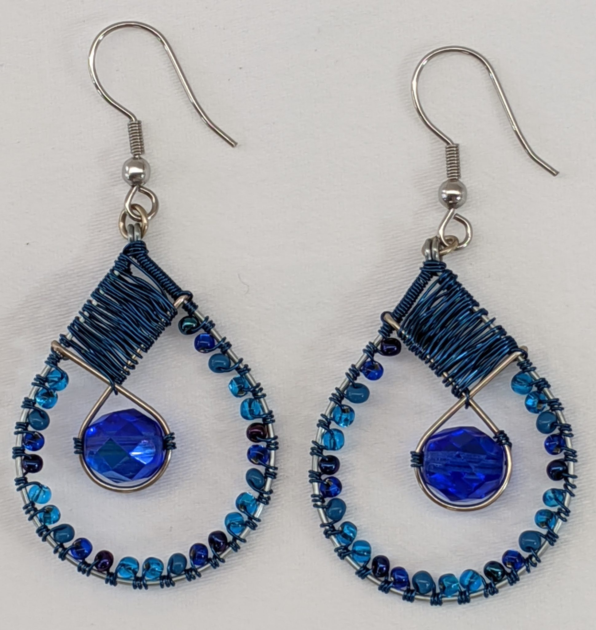 Teardrop with Crystal Beaded Earrings - Blues