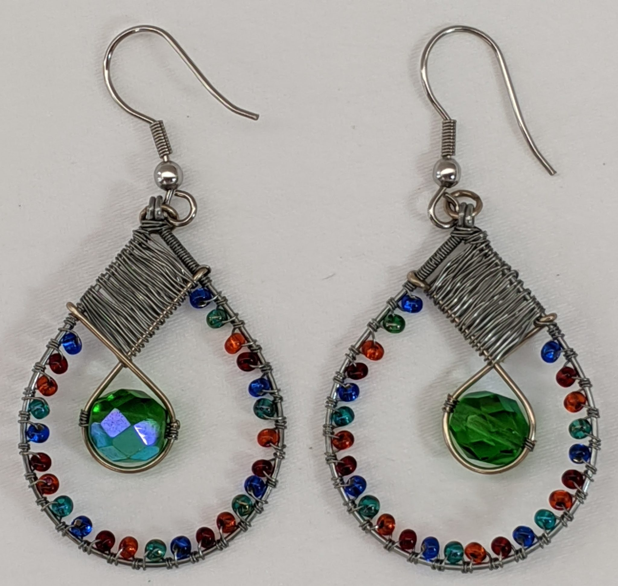 Teardrop with Crystal Beaded Earrings - Fiesta