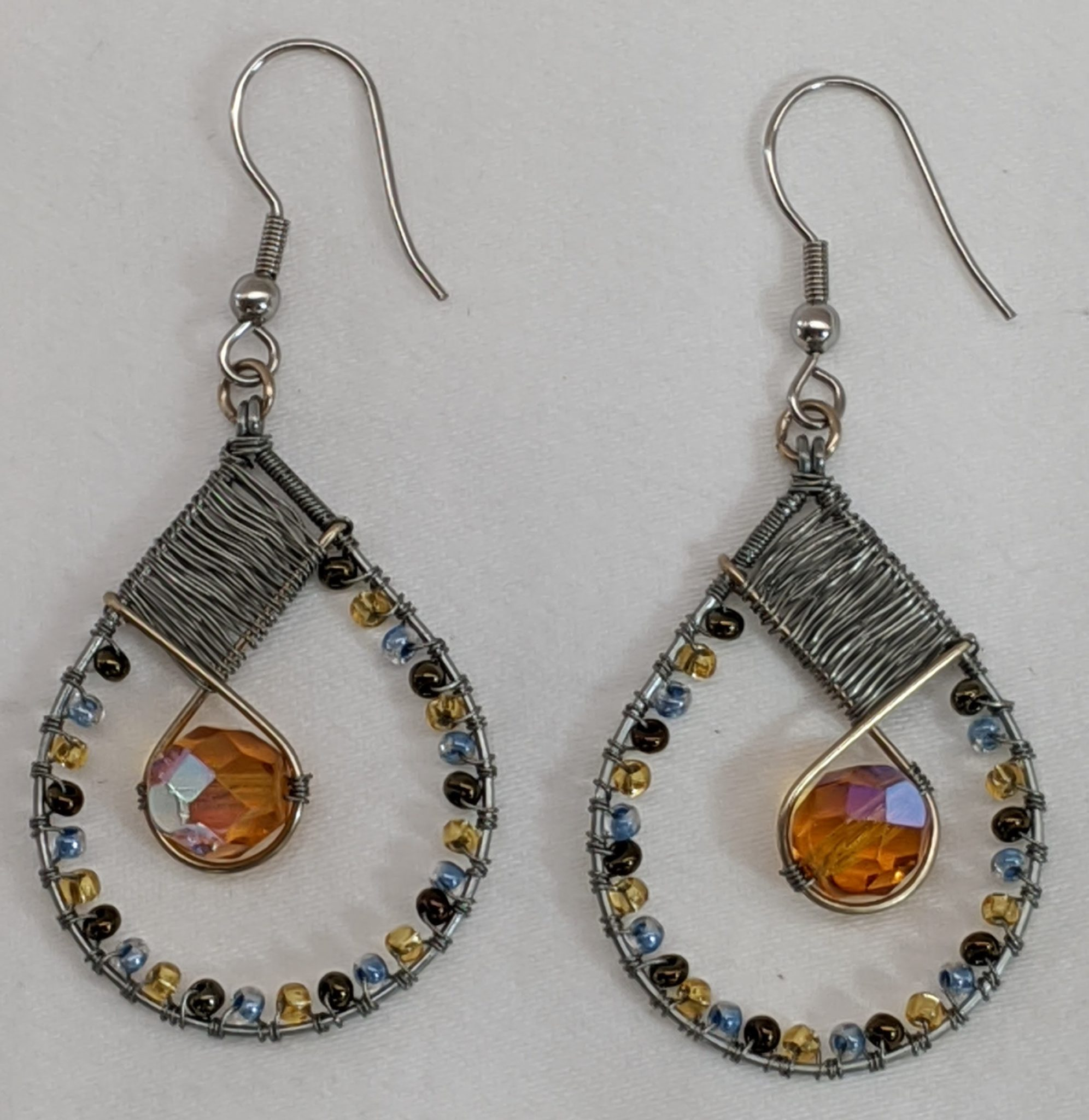 Teardrop with Crystal Beaded Earrings - Turquoise and Copper