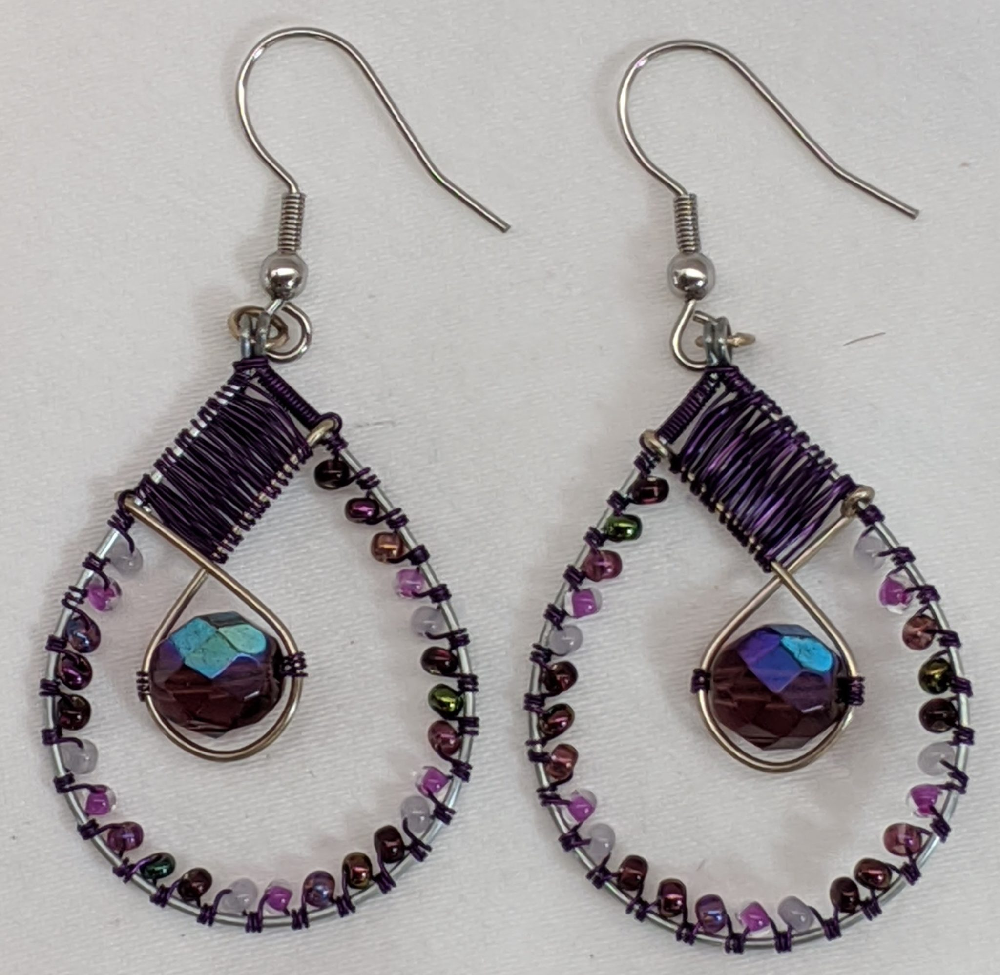 Teardrop with Crystal Beaded Earrings - Purples