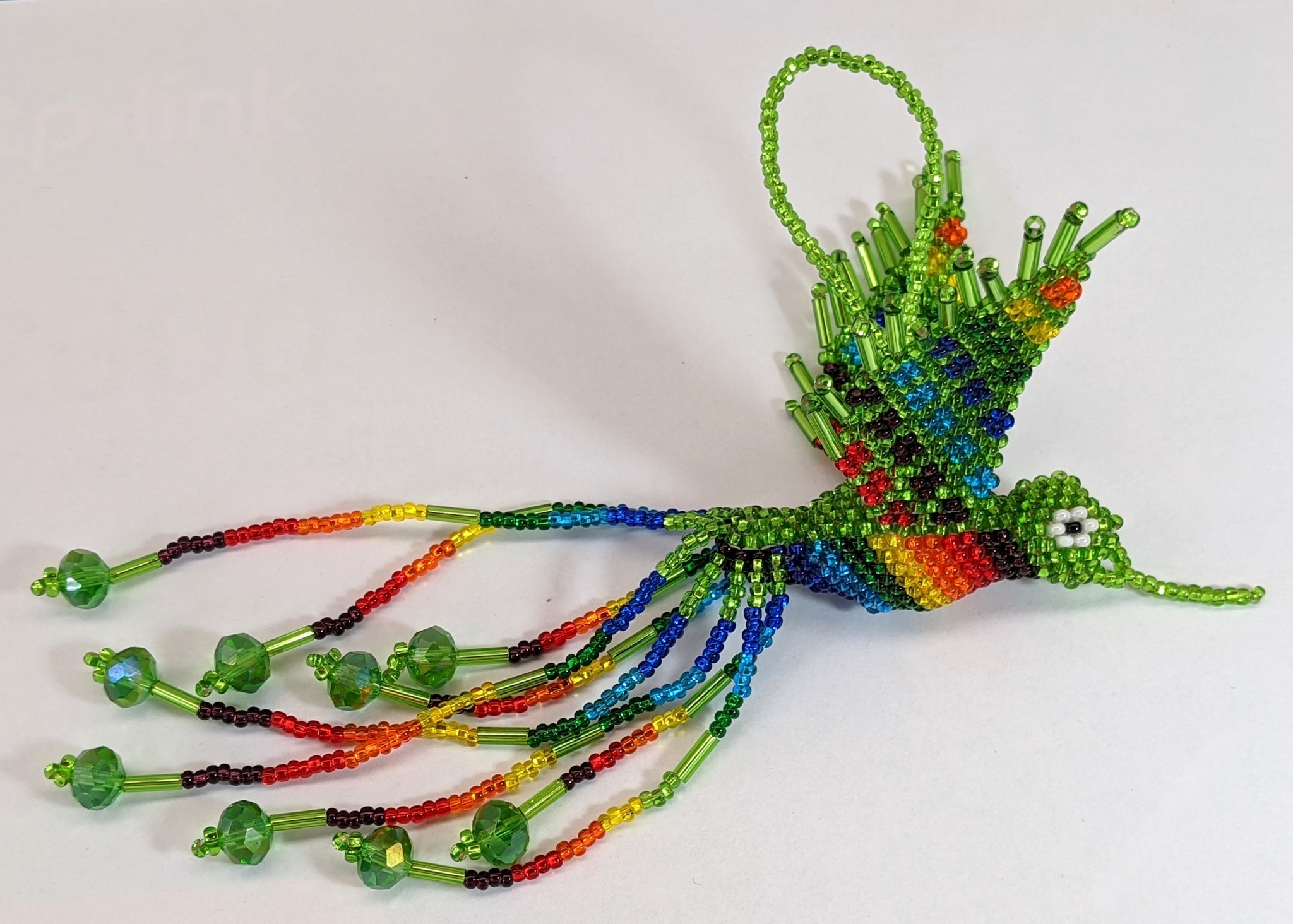 Hummingbird Beaded Ornament - Rainbow with Lime Green